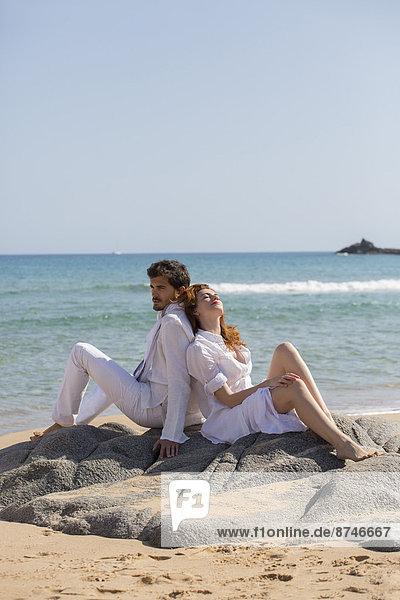 angelehnt  Strand  Italien  Sardinien