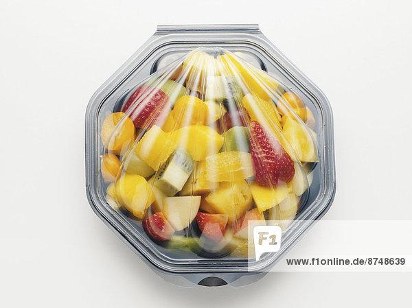 Studioaufnahme  Frucht  Salat  Kunststoff  Verpackung  Container