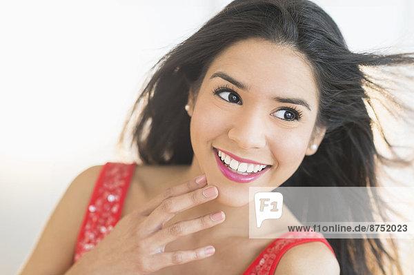 hoch  oben  nahe  Portrait  Frau  lächeln  Hispanier