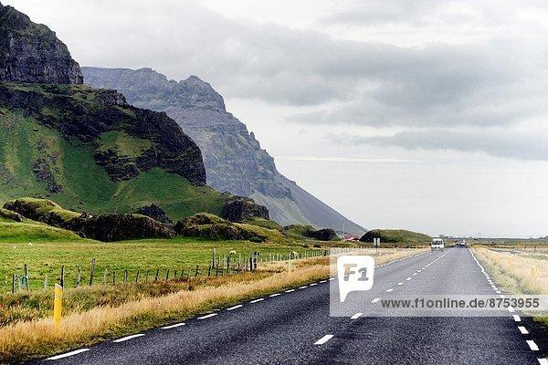 road between Selfoss and Skógafoss  Southwestern Iceland  Arctic regions.