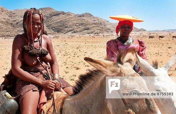 Farbaufnahme  Farbe  Frau  fahren  Landwirtschaft  Wüste  Maultier  Ziege  Capra aegagrus hircus  Norden  Namibia  Afrika  hüten  Volksstamm  Stamm
