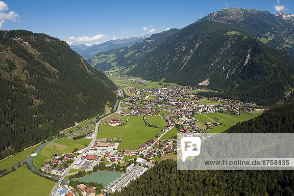 aerial photo Ahornspitze Austria buildings daytime high-angle shot houses landscape Mayrhofen mountain landscape mountains mountains nature nobody overview small town Steinerkogel townscape travel photography Tyrol valley view Zillertal