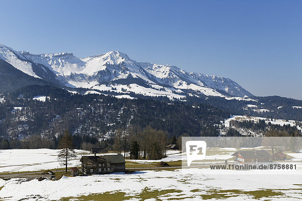 Alps Austria Bregenz Forest buildings daytime farmhouses farms high mountain range houses landscape mountain landscape mountains mountains nature nobody outdoors snow snowy travel photography Vorarlberg winter winter landscape wintry