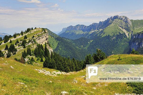 Ausblick vom Gebirgspass Col des Ayes auf die umliegenden Berge  Gebirgsmassiv Chartreuse  Département Isère  Rhône-Alpes  Frankreich