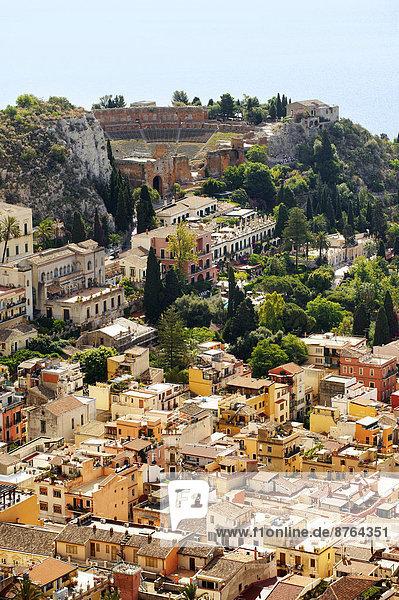 Ansicht Amphitheater Luftbild Fernsehantenne Italien Sizilien Taormina