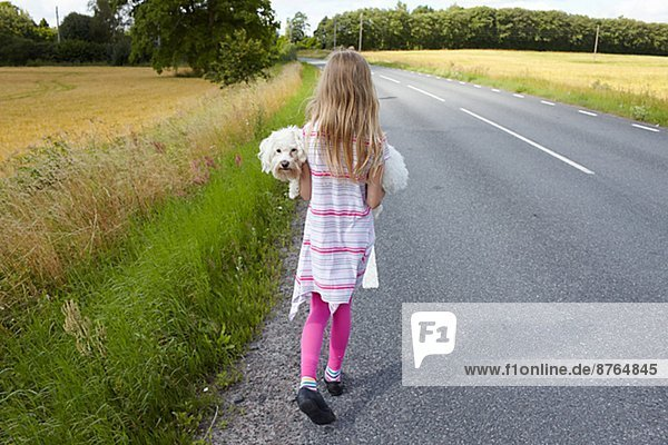 Girl carrying dog on country road  Skane  Sweden
