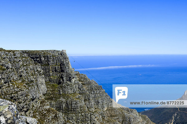 Table Mountain with a cable car  Cape Town  Western Cape  South Africa