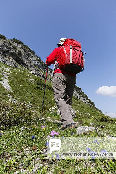 Österreich  Vorarlberg  Biosphärenreservat Großes Walsertal  Obere Laguzer Alm  Wandererinnen