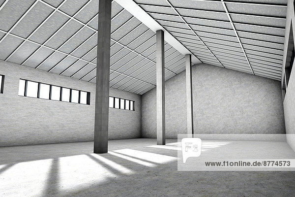 Architecture visualization of an empty industrial building  3D Rendering