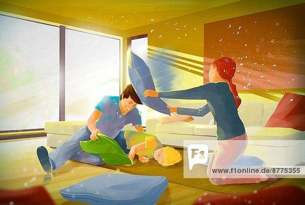Kampf  Zimmer  Illustration  Kopfkissen  Wohnzimmer