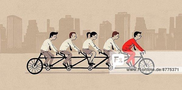 Teamwork  Fotografie  Wirtschaftsperson  fahren  Fahrrad  Rad  Symbol  Tandem
