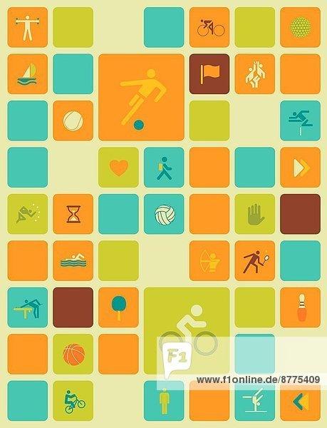Farbaufnahme  Farbe  Computericon  über  Illustration  Hintergrund  Sport