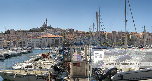 Vieux Port  harbour  town  village  water  summer  ships  boat  Marseilles  Bouches du Rhone  France  Europe