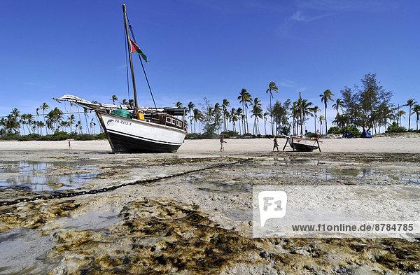 niedrig  Boot  Gezeiten  Afrika  Mosambik
