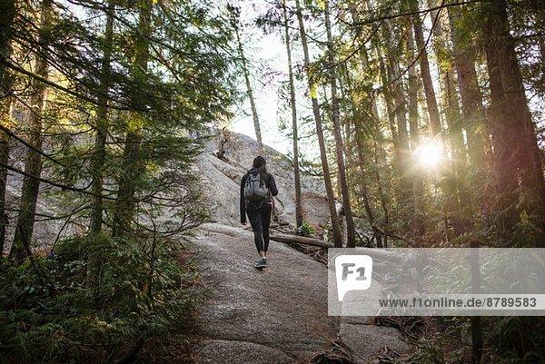 Junge Frau geht durch den Wald  Squamish  British Columbia  Kanada