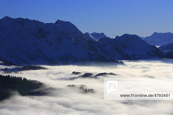 Panorama  Europa  Schneedecke  Berg  Winter  Himmel  Dunst  Schnee  Nebel  Alpen  blau  Ansicht  Sonnenlicht  Westalpen  Kronberg  Bergmassiv  schweizerisch  Schweiz