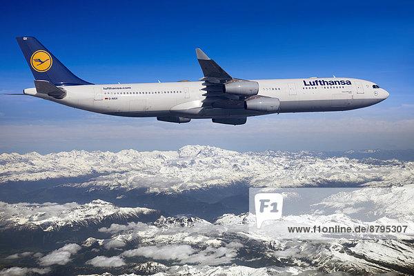 Lufthansa Airbus A330-343 in flight over mountains  Switzerland