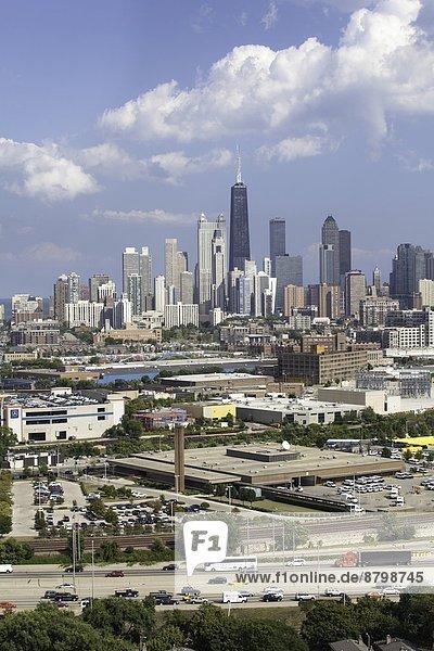 Hancock Tower and city skyline  Chicago  Illinois  United States of America  North America