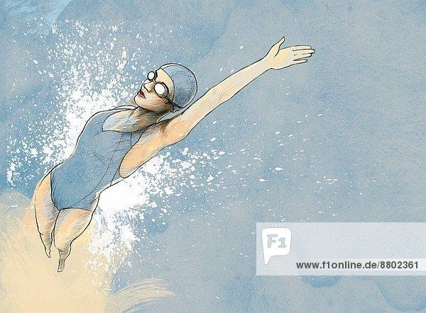 Frau  Fotografie  rückwärts  schwimmen
