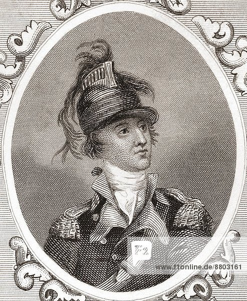 Major Benjamin Tallmadge  1754 –1835. American soldier  member of the United States House of Representatives and chief intelligence officer for George Washington during the American Revolutionary War. From Gallery of Historical and Contemporary Portraits  Engravings.