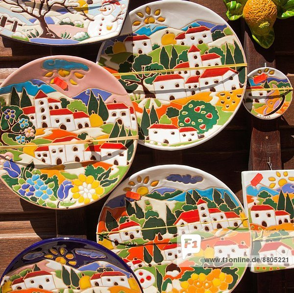 Souvenirs Shop  Display of Souvenir Plates in Pienza  Val d'Orcia  or Valdorcia  Siena Province  Tuscany  Italy  Europe.