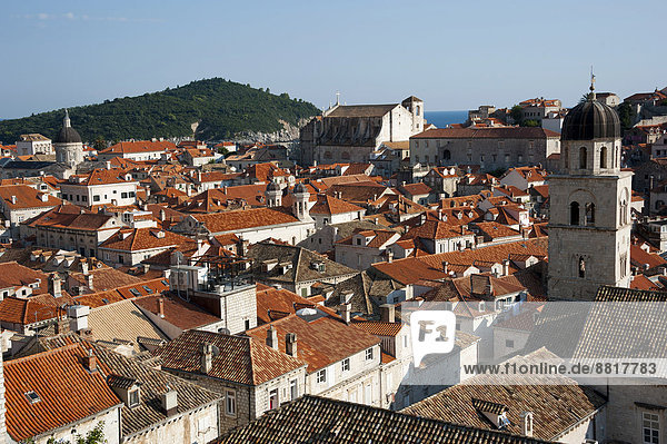 View from the city walls over the historic town centre  Dubrovnik  Dalmatia  Croatia
