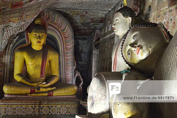Buddhastatuen und Wandmalereien in einem der Höhlentempel des Goldenen Tempels  UNESCO Weltkulturerbe  Dambulla  Zentralprovinz  Sri Lanka