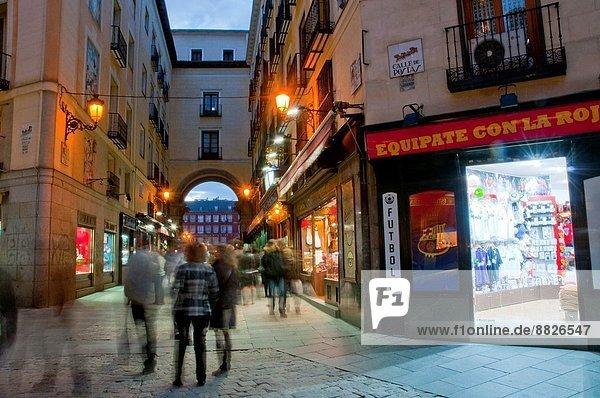 Postas street and Main Square  night view. Madrid  Spain.