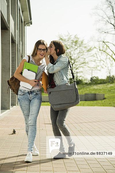 Zwei fröhliche junge Studenten  die im Freien spazieren gehen.
