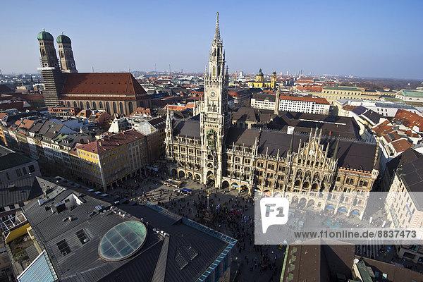Germany  Bavaria  Munich  Marienplatz with New Town Hall and Frauenkirche