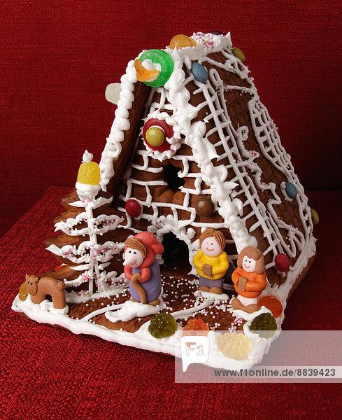Tradition Wohnhaus Eis Figur Dekoration Lebkuchen Sortiment Süßigkeit Biskuit Zeichen