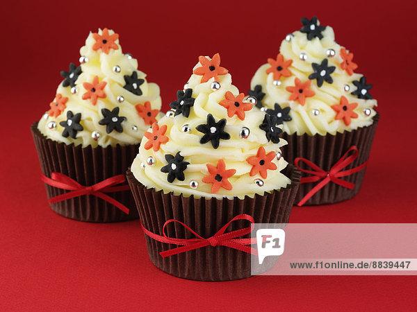 Blume  schwarz  Band  Bänder  Dekoration  Tasche  Kuchen  rot  binden  3  cupcake  braun