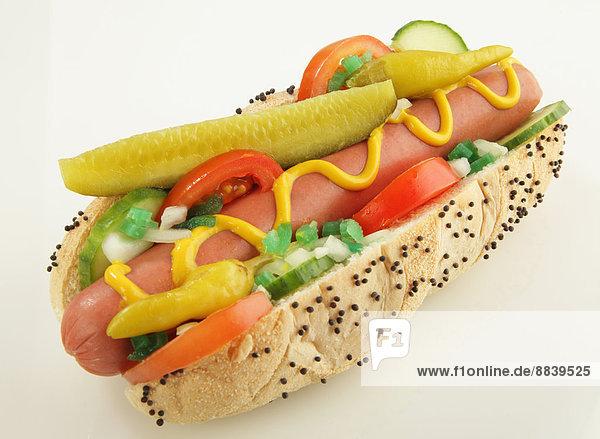 Gurkenscheibe  eingelegt  einlegen  Helligkeit  Lifestyle  Tomate  Hot Dog  Hot Dogs  Dill  Chicago  Senf