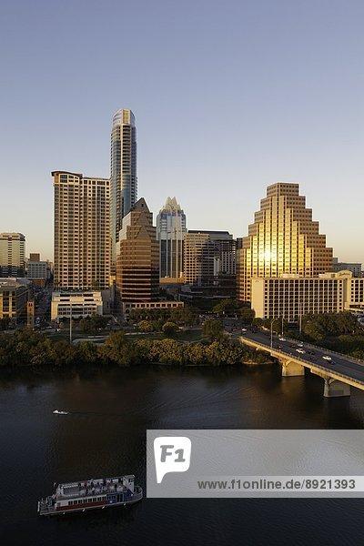 City skyline viewed across the Colorado River  Austin  Texas  United States of America  North America
