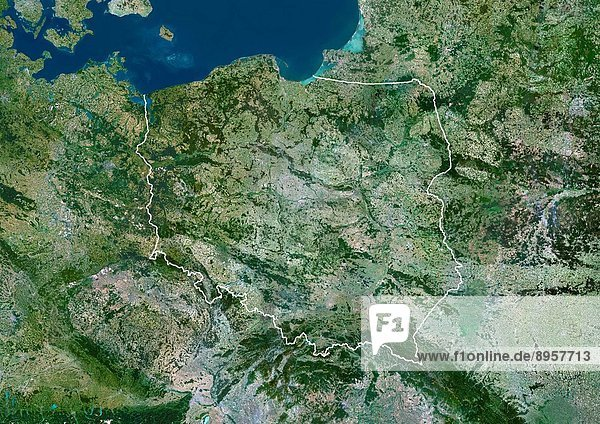 Poland  Europe  True Colour Satellite Image With Border. Satellite view of Poland with border. This image was compiled from data acquired by LANDSAT 5 & 7 satellites.