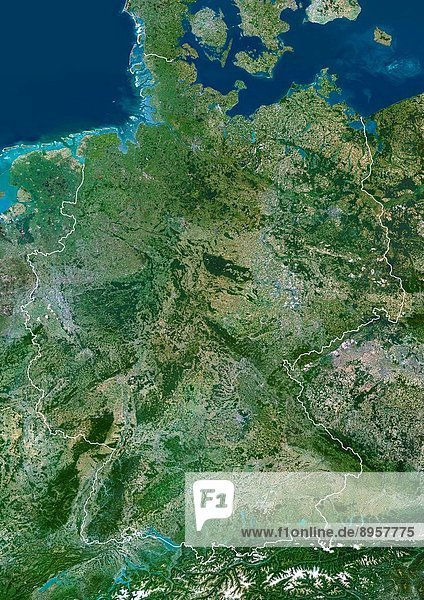 Germany  True Colour Satellite Image With Border. Germany  true colour satellite image with border. This is the largest country in Europe in terms of population  at around 82 million 2006. To its north it borders the Jutland peninsula  which is part of Denmark. East of this is the Baltic Sea  west of it the North Sea. At centre left is the Netherlands  and below that Belgium and France. To its east are Poland centre right and the Czech Republic lower right. The snow_capped Alps mountains across bottom lie on the borders with Switzerland left and Austria right. The image used data from LANDSAT 5 & 7 satellites.