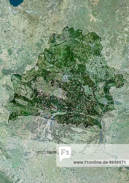 Belarus  Europe  True Colour Satellite Image With Border And Mask. Satellite view of Belarus with border and mask. This image was compiled from data acquired by LANDSAT 5 & 7 satellites.