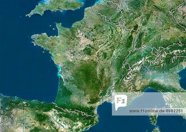 Satellite view of France with border. Belgium and Luxemburg are at North. Switzerland is East. This image was compiled from data acquired by LANDSAT 5 & 7 satellites.