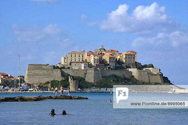 Frankreich Strand Stadt Ansicht Calvi Zitadelle Korsika