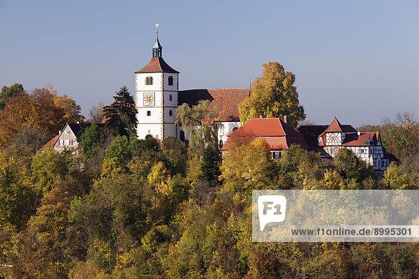 Stöckenburg with St. Martin's Church  Vellberg  Hohenlohe  Baden-Württemberg  Germany