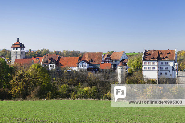 Schloss Vellberg mit Altstadt,  Vellberg,  Hohenlohe,  Baden-Württemberg,  Deutschland