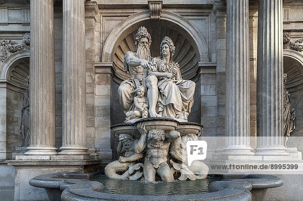 Albrecht Fountain  1869  with the figures of Danubius and Vindobona  Albertina Bastion  Vienna  Vienna State  Austria
