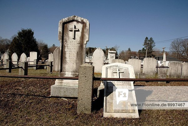 Headstones at South Cemetery in Portsmouth  New Hampshire USA  which is part of scenic New England