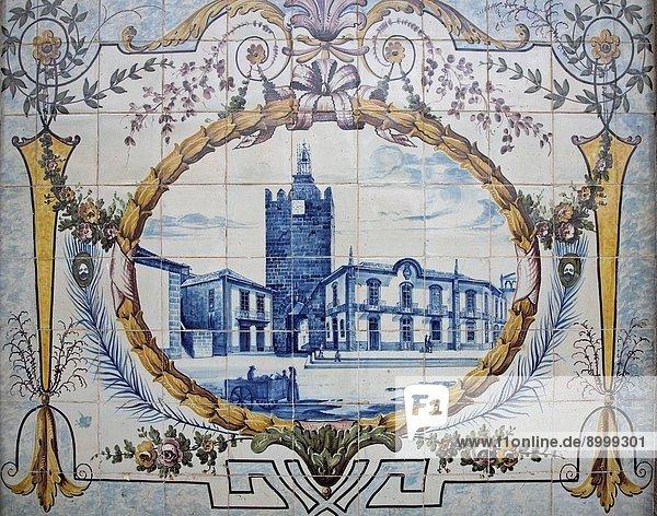Glazed blue Azulejo tiles Caminha railway station  Portugal Glazed blue Azulejo tiles Caminha railway station, Portugal