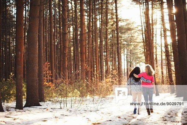 Reife Frauen beim Waldspaziergang