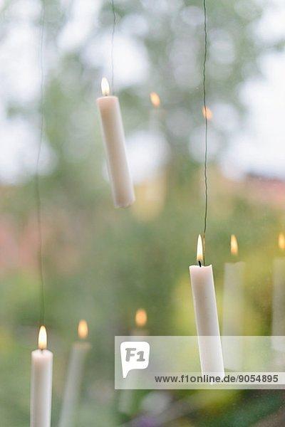verbrennen Fenster hängen Kerze