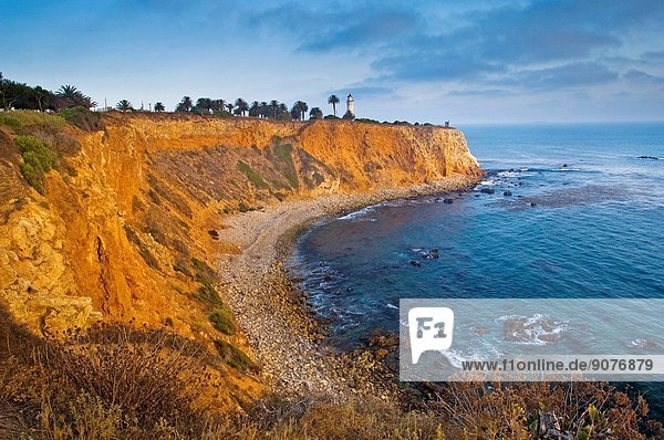 Point Vicente Lighthouse on top of coastal cliffs at Point Vicente  Palos Verdes Peninsula  California.