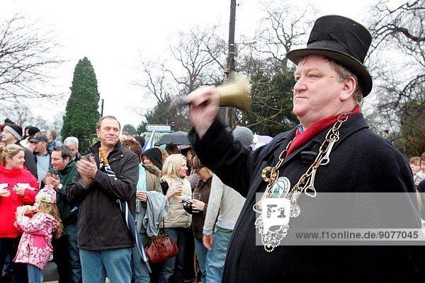 The Ponteland New Year Wheelbarrow Race on New Years day January 2008. Pictured 'race starter' Philip Jackson 57.