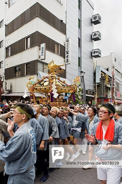 Mikoshi Portable shrine at festival in Asakusa  Tokyo  Japan