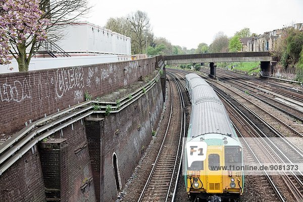 Southern Train on Clapham Junction Track - London SW11 - UK.